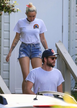 Miley Cyrus in Jeans Shorts -05
