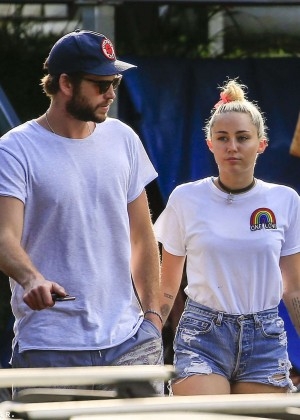 Miley Cyrus in Jeans Shorts -06