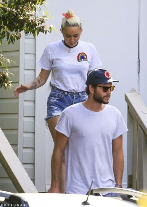 Miley Cyrus in Jeans Shorts -07