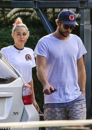 Miley Cyrus in Jeans Shorts -11