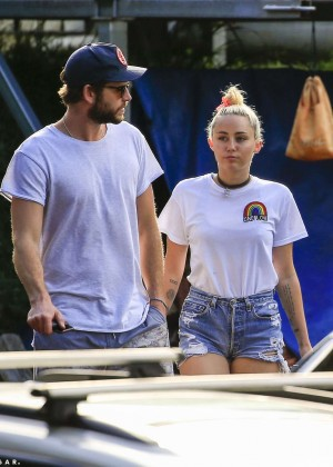 Miley Cyrus in Jeans Shorts -13