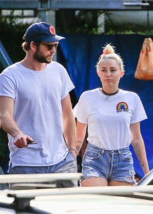 Miley Cyrus in Jeans Shorts -23