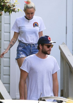 Miley Cyrus in Jeans Shorts -25