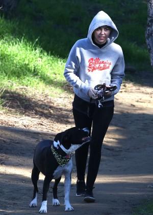 Miley Cyrus in Leggings Walking her dog in LA