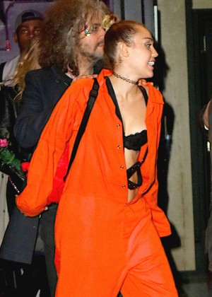 Miley Cyrus in Orange Jumpsuit Leaves Up and Down Nightclub in NY