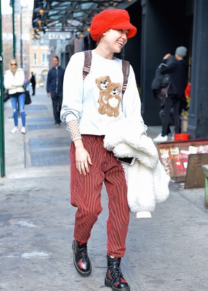 Miley Cyrus in Red Pants out in NYC