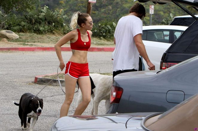 3f9fd7a9ad977 Miley Cyrus in Red Shorts and Sports Bra -05 – GotCeleb