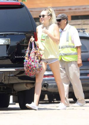 Miley Cyrus in Shorts at Soho House in Malibu