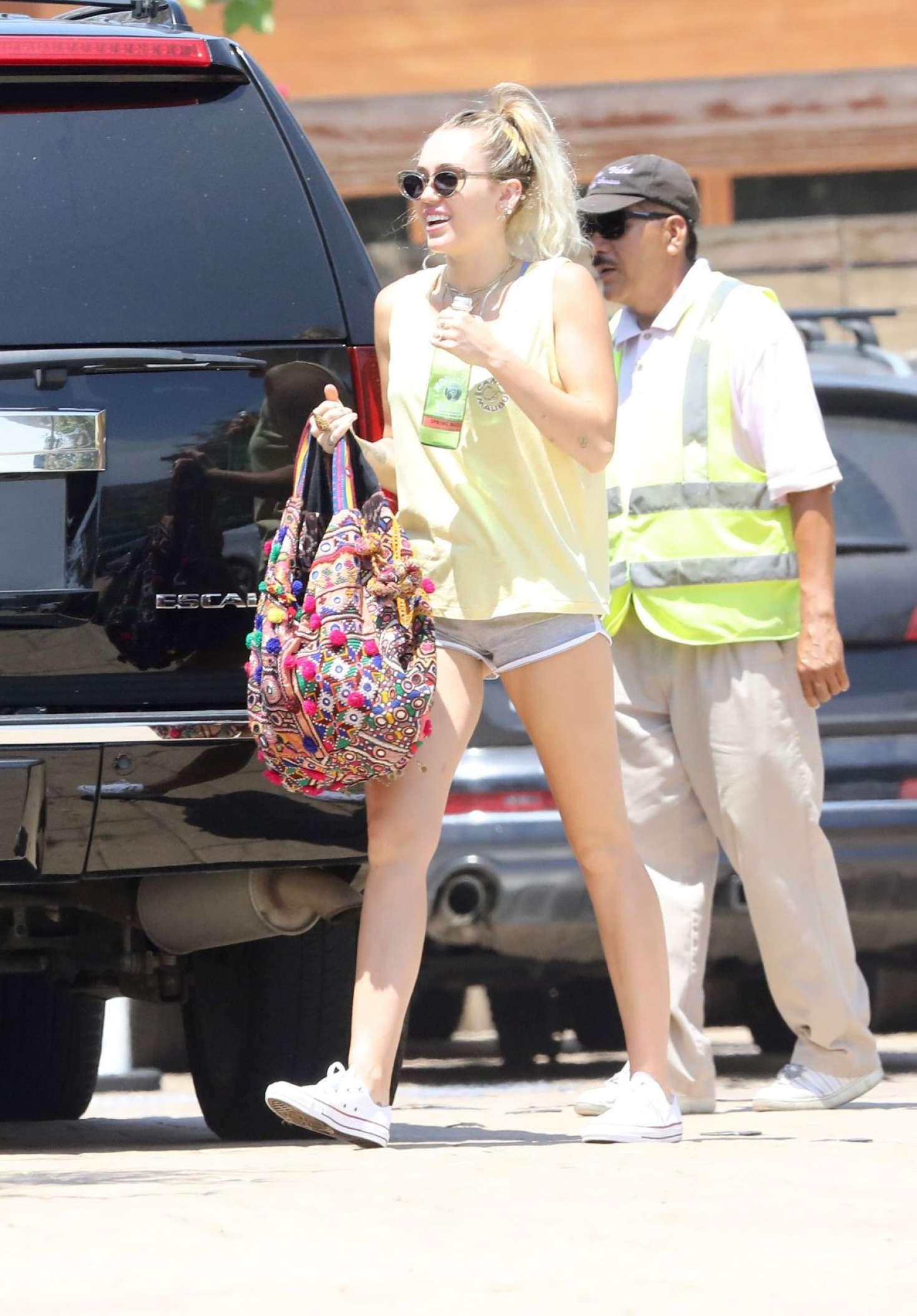 Miley Cyrus in Shorts at Soho House in Malibu