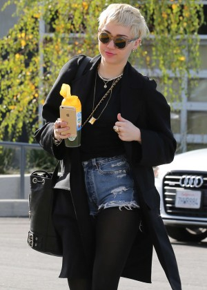 Miley Cyrus in Jeans Shorts Out in Studio City