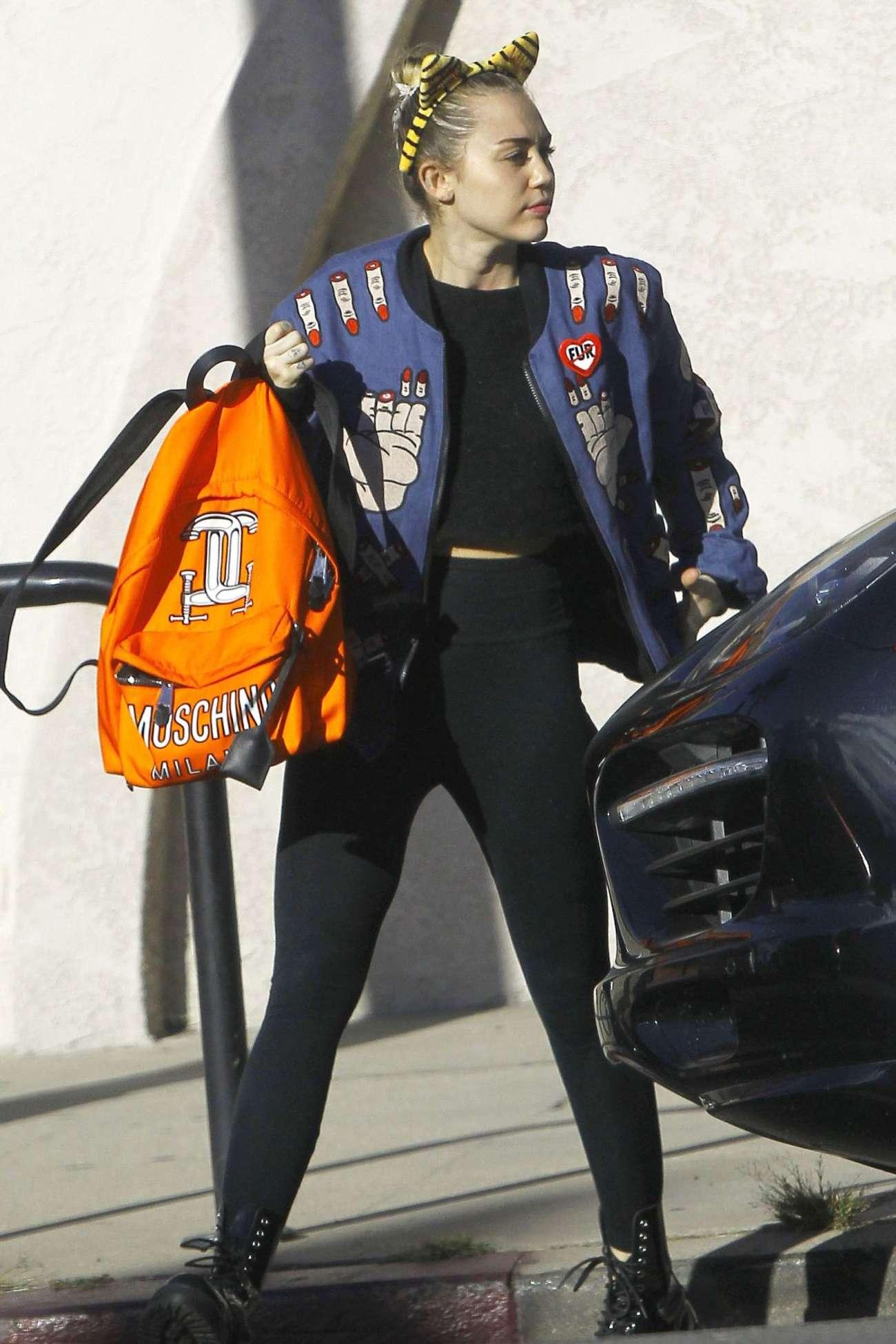 Miley Cyrus in Spandex Leaves a Veterinarian Office in LA