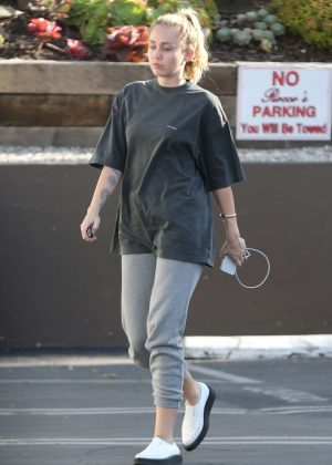 Miley Cyrus in T-shirt and Sweatpants in Los Angeles