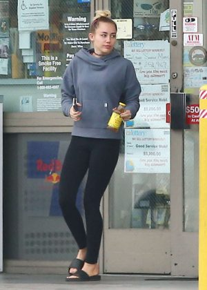 Miley Cyrus in Tights at a Gas Station in Los Angeles
