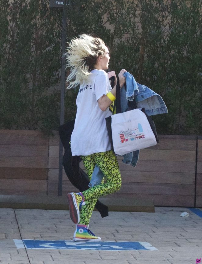 Miley Cyrus in Tights Leaves Soho House in Malibu