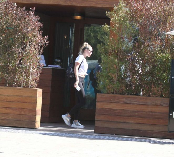 Miley Cyrus in Tights Out for lunch in Malibu