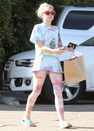 Miley Cyrus in Tights out in Malibu