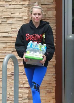 Miley Cyrus in Blue Leggings -10
