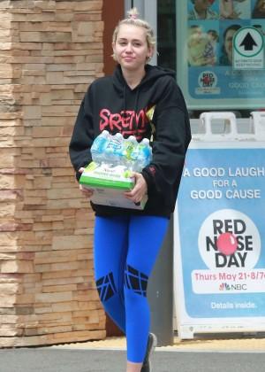 Miley Cyrus in Blue Leggings -24