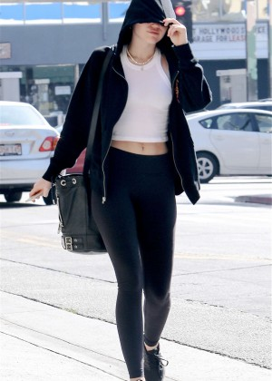 Miley Cyrus in Spandex Out for lunch in LA