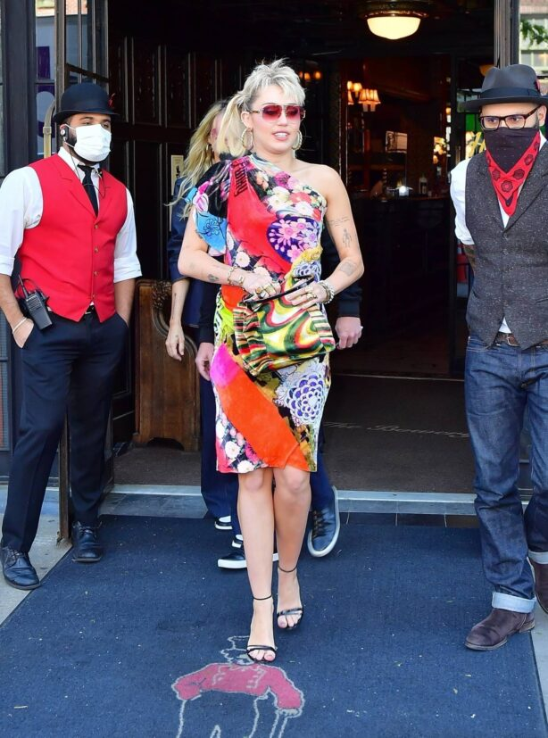Miley Cyrus - Out in retro 70s rocker dress with mom Tish in New York