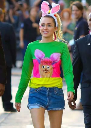 Miley Cyrus - Seen at Jimmy Kimmel Live in Los Angeles