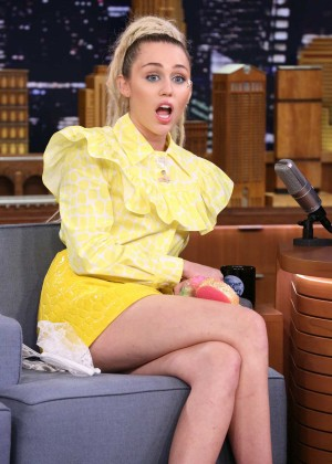 Miley Cyrus Leggy on 'The Tonight Show Starring Jimmy Fallon' in NY