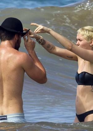 Miley Cyrus in Black Bikini -03