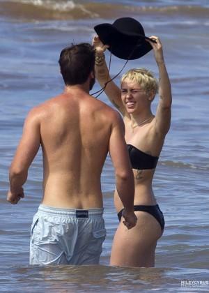 Miley Cyrus in Black Bikini -04