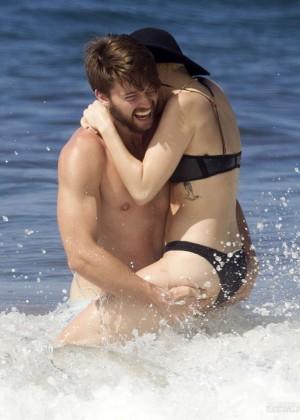 Miley Cyrus in Black Bikini -07