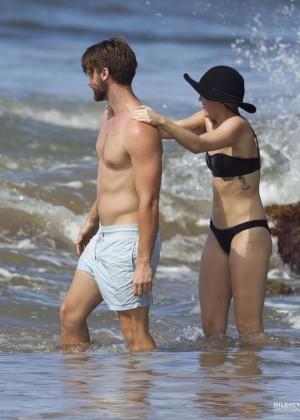 Miley Cyrus in Black Bikini -08