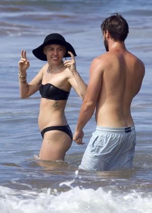Miley Cyrus in Black Bikini -11