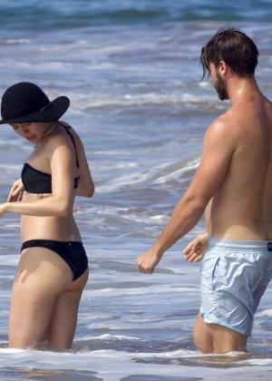 Miley Cyrus in Black Bikini -12