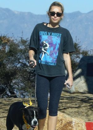 Miley Cyrus with her dog Mary Jane on a hike in Studio City