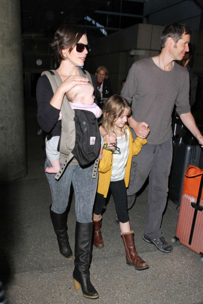 Milla Jovovich and Family at LAX Airport in LA