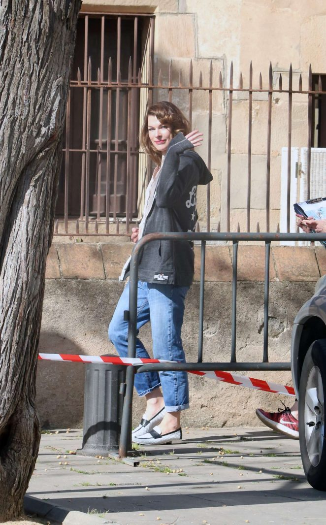 Milla Jovovich - Arriving on set of their new film in Barcelona