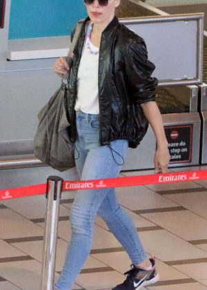 Milla Jovovich at Cape Town International Airport in South Africa