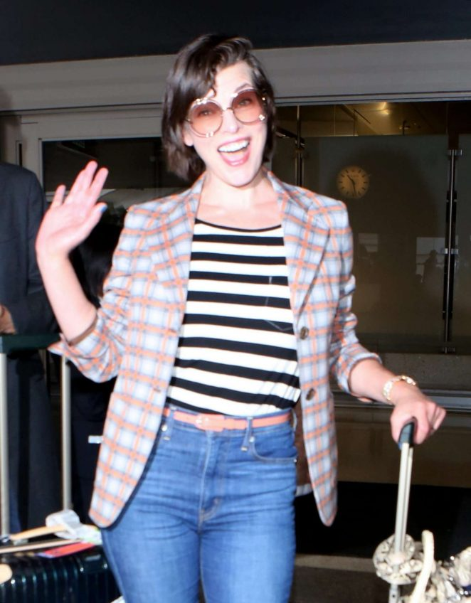 Milla Jovovich at LAX Airport in Los Angeles