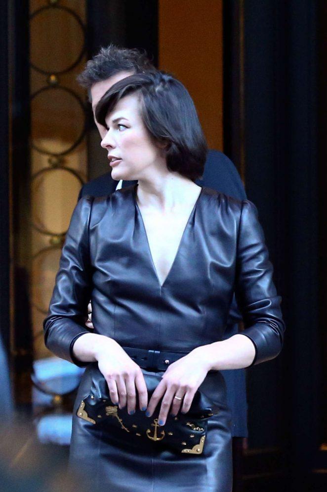 Milla Jovovich in Black Dress Leaving her hotel in Milan
