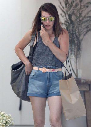 Milla Jovovich in Denim Shorts - Shopping in West Hollywood