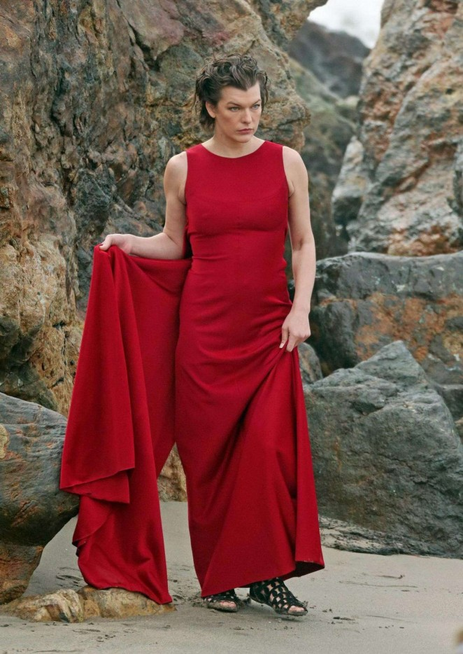 milla jovovich in red dress on photoshoot 18 gotceleb