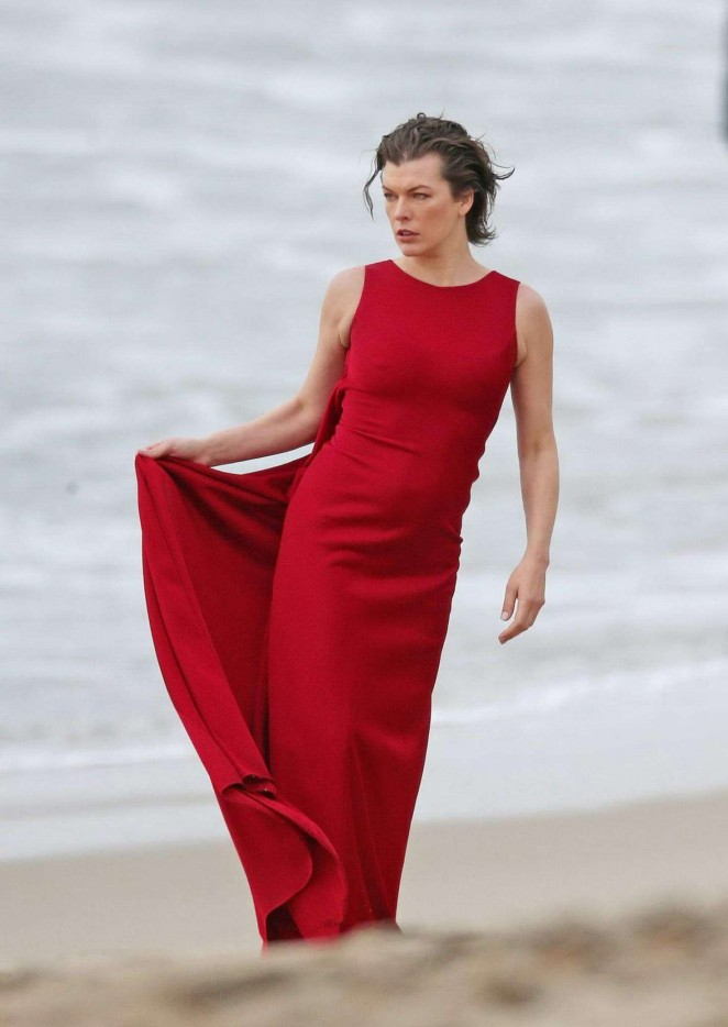 milla jovovich in red dress on photoshoot 27 gotceleb