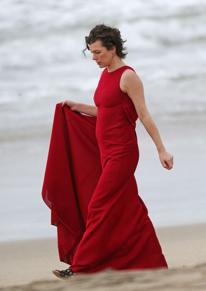 milla jovovich in red dress on photoshoot 30 gotceleb