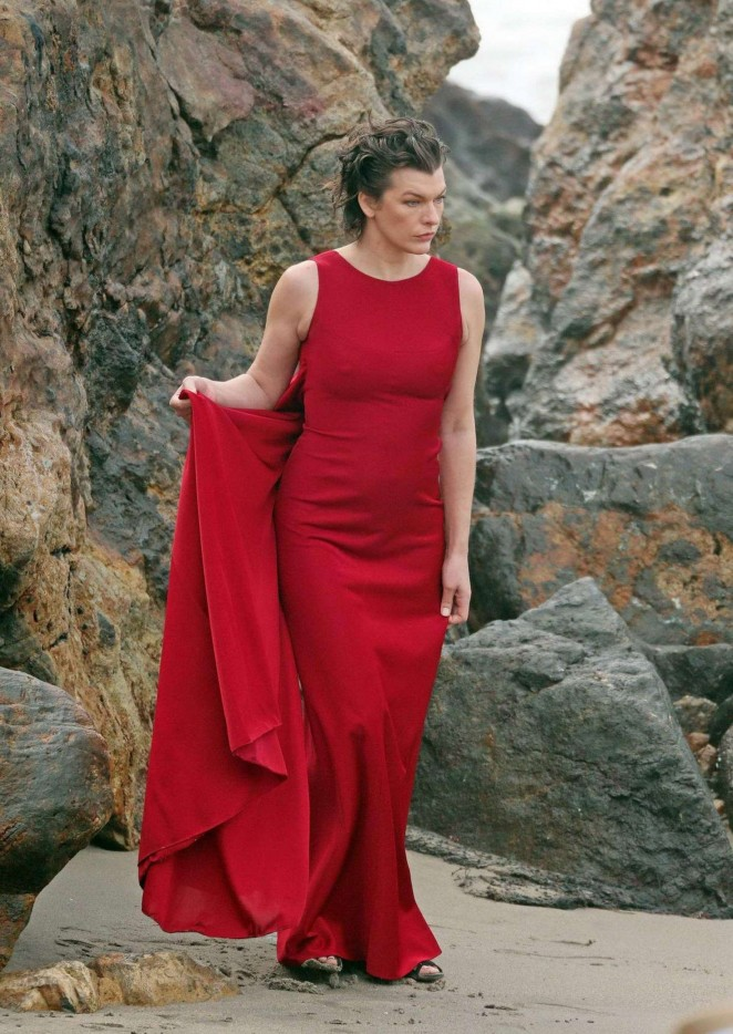 milla jovovich in red dress on photoshoot 31 gotceleb