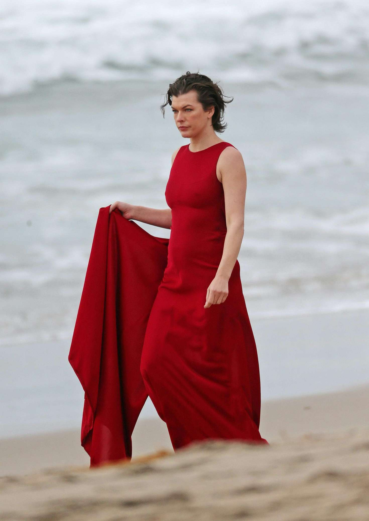 milla jovovich in red dress on photoshoot 39 gotceleb