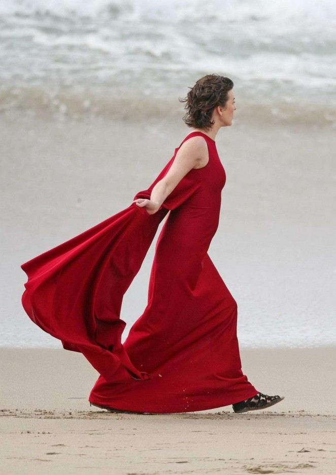 milla jovovich in red dress on photoshoot 41 gotceleb