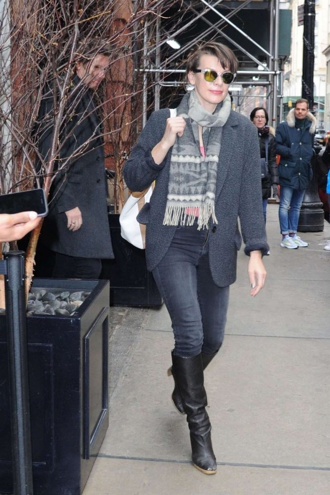 Milla Jovovich – Leaves her hotel in New York