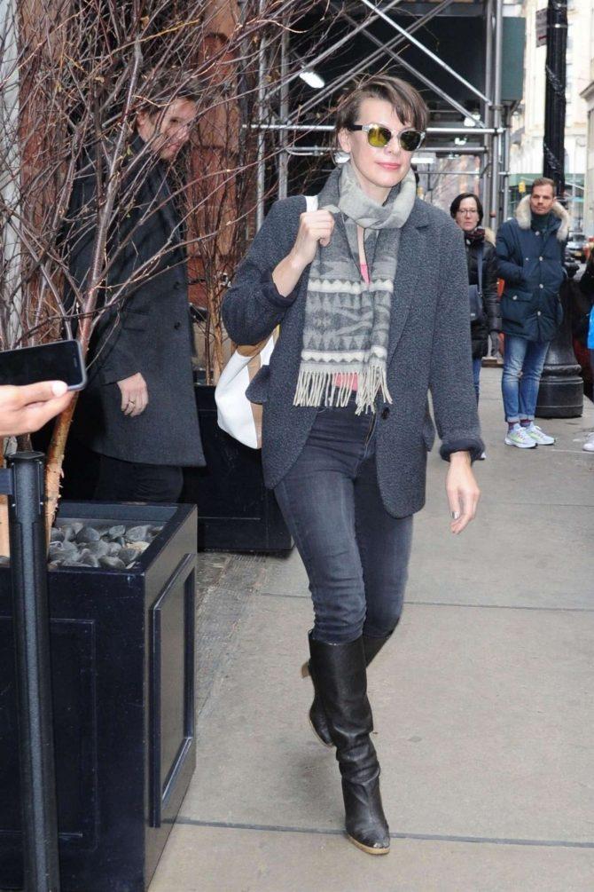 Milla Jovovich - Leaves her hotel in New York