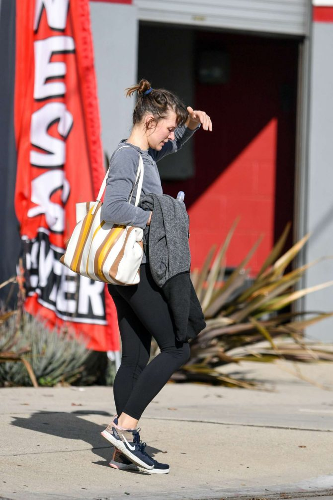Milla Jovovich – Leaving a trampoline gym in Los Angeles