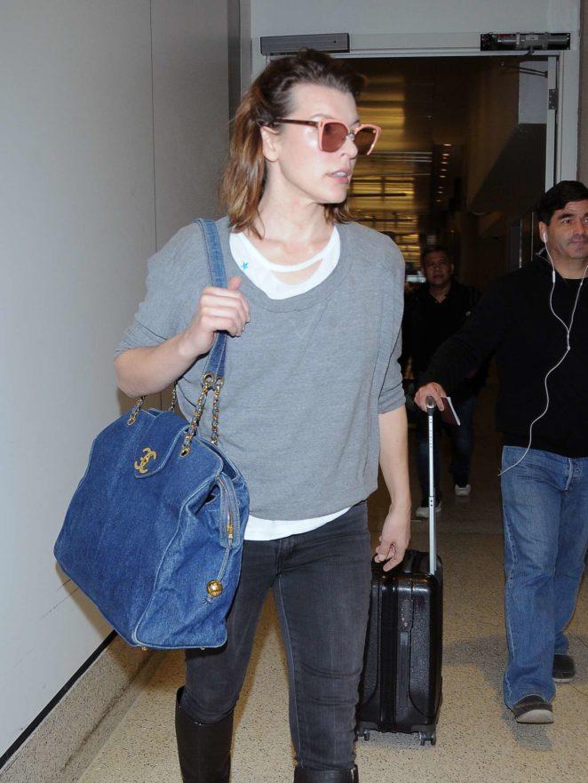 Milla Jovovich - Los Angeles International Airport in LA