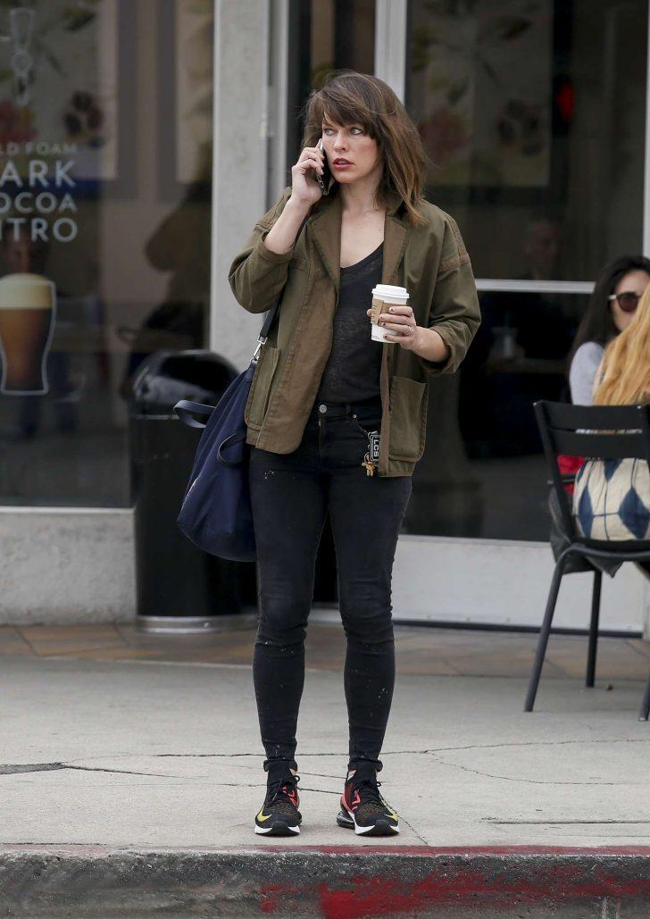 Milla Jovovich - Out for coffee in LA